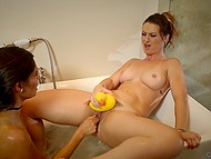Lesbian sex in bathtub is how MILF punishes naughty stepdaughter for skipping lessons 8