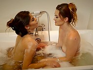 Lesbian sex in bathtub is how MILF punishes naughty stepdaughter for skipping lessons 9