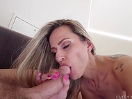 Blowjob by sexy MILF with big tits is so good that Nacho Vidal cums after fucks her a little bit 6