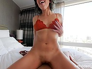 Porn-agent momentarily responded to a silent request of half-naked Latina about rough fucking 7