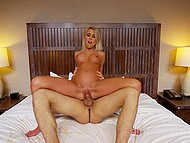Girl with beautiful tits will be fucked from behind after she rides agent's cock with shaved pussy 5