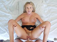 Bed is a perfect place for blonde to be tested by pro fucker who cums over face finishing pussy-drilling