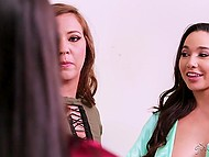 Busty lesbian Angela White and Karlee Grey nail Maddy Oreilly's deep throat using strapons 5
