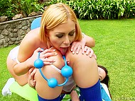 Trapped in the backyard, classmates had nothing better to do than to throw a lesbian anal twosome on camera 10