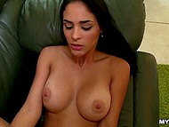 Teen Latina with big boobies moans while cock with a condom on is softly nailing shaved twat 9