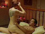Mistress with red hair doesn't allow slave to go home to loved wife till he fucks her