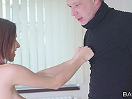 Hussy with red hair gives gentle older guy a hint that she is ready to suck and be banged 5
