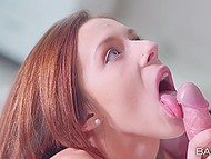 Hussy with red hair gives gentle older guy a hint that she is ready to suck and be banged