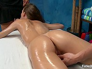 Pussy masturbation and small tits stimulation help masseur and his assistant fuck remarkable client 5