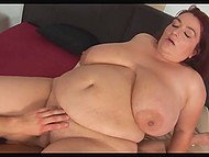 Bald man does his best to penetrate red-haired BBW mistress in several positions 6