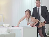 Seduction technique works and boss fucks pussy of secretary in black stockings from behind