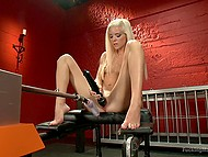 Powerful vibrator and fucking machine are the reason the wonderful blonde reaches squirting orgasms