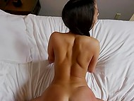 Pigtailed Latina girl gives agent blowjob and guy makes her moan fucking in doggystyle 10