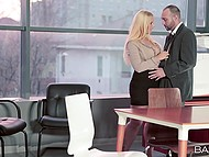 Super sexy blonde Kyra Hot has a crush on co-worker and finally takes man's cock in mouth 4