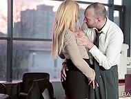 Super sexy blonde Kyra Hot has a crush on co-worker and finally takes man's cock in mouth 5