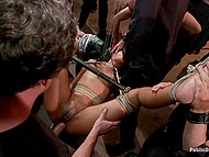 Girls have got into trouble and now they are hogtied without a chance to resist hungry for sex men 6