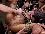 Girls have got into trouble and now they are hogtied without a chance to resist hungry for sex men 7