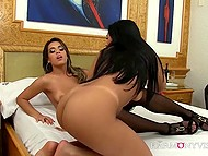 Smoking-hot Latina lesbians experience fun with double-sided dildo in bedroom 11