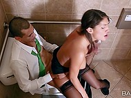 Office slut August Ames and her Ebony colleague sneak in toilet to have so desired sex 4