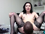 Slim real estate agent Aria Alexander teases client with striptease until he wants to lick her pussy 9