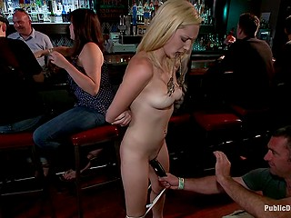 Pale small ass of blonde girl is flogged and one of the customers masturbates her pussy with vibrator