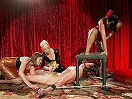 Girlfriends have nothing against fun and it's a good thing there's tied up slave man who can be jerked off