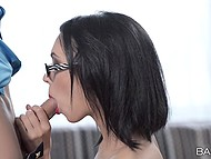 Sexy secretary Sheri Vi from Russia thinks boss should relax and blowjob will help him 10