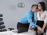 Sexy secretary Sheri Vi from Russia thinks boss should relax and blowjob will help him 4