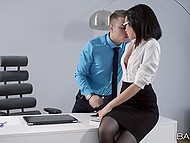 Sexy secretary Sheri Vi from Russia thinks boss should relax and blowjob will help him 5