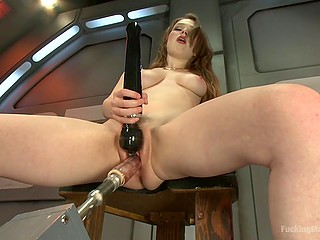Naked chick with perky tits loves the way sex machine and vibrator worship her twat