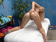 Lucky buddy relaxes with naked blonde masseuse who adores sex in doggystyle pose 7