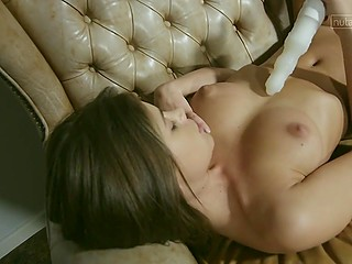 When passion seizes love's mind, she takes dildo and recalls cool sex she has had before