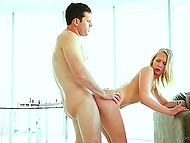 For well-done blowjob attractive blonde is rewarded with tender penetration in doggystyle 8