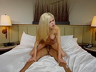 Blonde newbie with perky tits jumps on dick but is also eager to show partner cock sucking skills 5