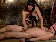 Come-hither diva goes mad and ties up guy riding him and jerking off in dark cellar 6