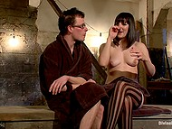 Come-hither diva goes mad and ties up guy riding him and jerking off in dark cellar 8