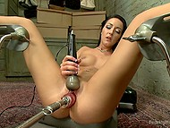 Since man gifted fuck-machine to brunette babe, she profusely squirts a few times per day 8