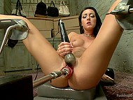 Since man gifted fuck-machine to brunette babe, she profusely squirts a few times per day 9