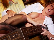 Young man intentionally hired nympho who moans load and loves cumshots over her body 6