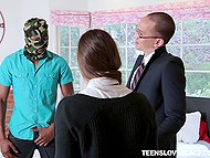 After black guy understands that nerd has no money, he puts on mask and gives his girlfriend huge cock for sucking 5