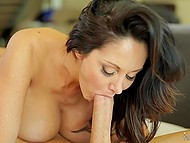 Super busty MILF Ava Addams takes off top and man hurries to hang up the phone and make love to her 10