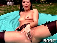 Man picked up oriental girl and took her to new house to see if it's comfortable to masturbate in backyard