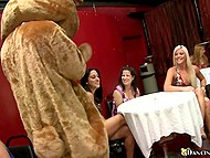 Girls choke and take cock of stripper wearing a bear costume deep in mouths till facial 4