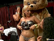 Girls choke and take cock of stripper wearing a bear costume deep in mouths till facial 7