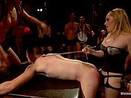 Гости выдёргивают волоски с тела мужика и цепляют прищепки, но хозяйка вечера решила ещё и отстрапонить его