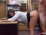For late loan paying young woman has to give blowjob and pussy to pawnshop assistant