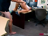 For late loan paying young woman has to give blowjob and pussy to pawnshop assistant 4