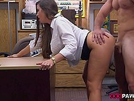 For late loan paying young woman has to give blowjob and pussy to pawnshop assistant 8