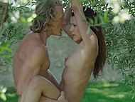 Garden of Eden disposes to hump so handsome boy makes slut feel good and cums over her belly