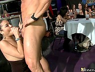 Girls choke so sweet while stripper's cock is moving in and out of mouths at corporate event 5